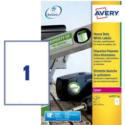 Avery L4775-20 Heavy Duty Labels A4 White 210 x 297 mm 20 Sheets of 1 Labels