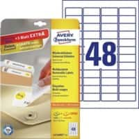 Avery L4736REV-25 Mini Multipurpose Labels Removable 45.7 x 21.2 mm White 25 Sheets of 48 Labels