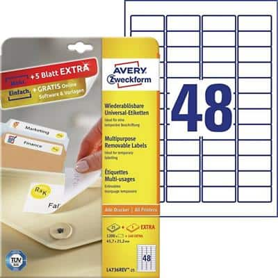 Avery L4736REV-25 Mini Multipurpose Labels Removable 45.7 x 21.2mm White 25 Sheets of 48 Labels