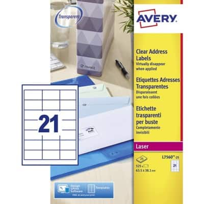 Avery L7560-25 Address Labels Special format Transparent 63.5 x 38 mm 25 Sheets of 21 Labels