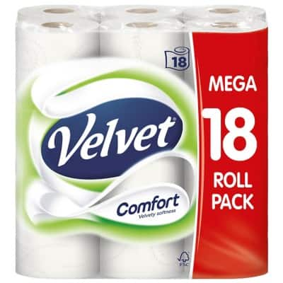 Velvet Toilet Paper 2 Ply 18 Rolls of 210 Sheets