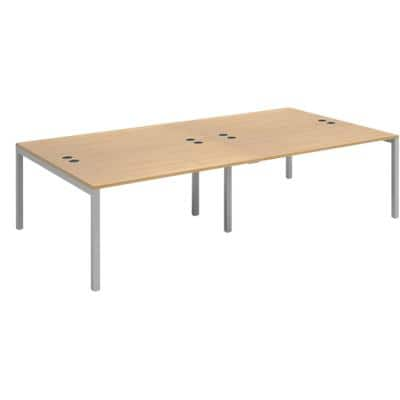Dams International Rectangular Double Back to Back Desk with Oak Coloured Melamine Top and Silver Frame 4 Legs Connex 2800 x 1600 x 725mm