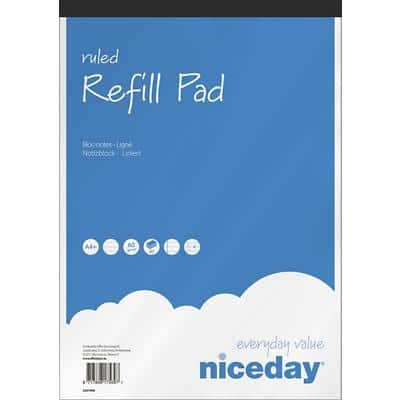Niceday A4+ Top Bound Paper Cover Refill Pad Ruled Micro Perforated 160 Pages Blue Pack of 5
