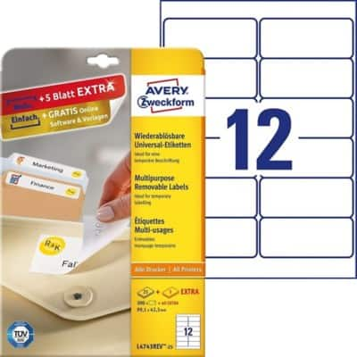 Avery Multipurpose Labels L4743REV-25 White 300 labels per pack