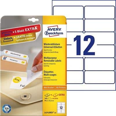 Avery L4743REV-25 Multipurpose Removable Labels A4 White 99.1 x 42.3 mm 30 Sheets of 12 Labels