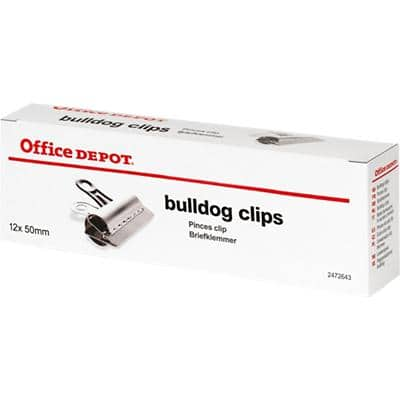 Office Depot Bulldog Clips  50 mm Silver 12 Pieces