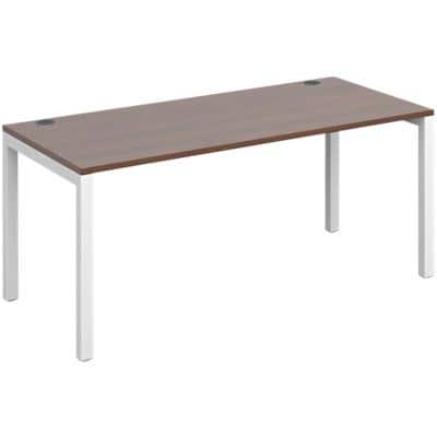 Dams International Rectangular Starter Unit Single Desk with Walnut Melamine Top and White Frame 4 Legs Connex 1600 x 800 x 725mm