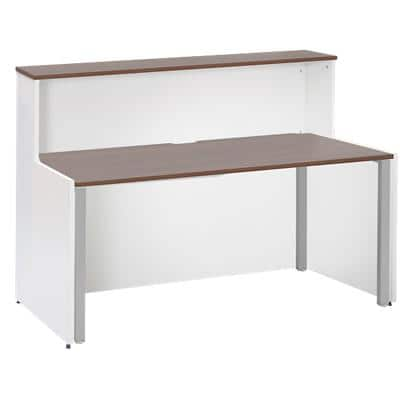 Dams International Rectangular Reception Desk with Walnut Melamine Top and White Frame Adapt 1462 x 890 x 1125mm