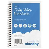 Niceday A6 Wirebound Blue Paper Cover Notebook Ruled 100 Pages Pack of 5