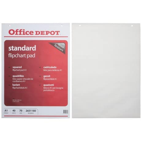 Office Depot Flipchart Pads A1 White 70gsm 58.5 x 81 cm 5 Pieces of 40 Sheets