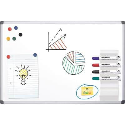 Office Depot Whiteboard Standard Magnetic Lacquered Steel Aluminium Frame Single Sided 90 x 60 cm