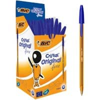 BIC Cristal Original Fine Ballpoint Pen Fine 0.3 mm Blue Pack of 50