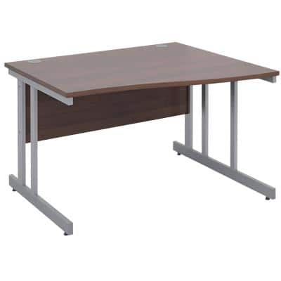 Freeform Right Hand Design Wave Desk with Walnut MFC Top and Silver Frame Adjustable Legs Momento 1200 x 990 x 725 mm