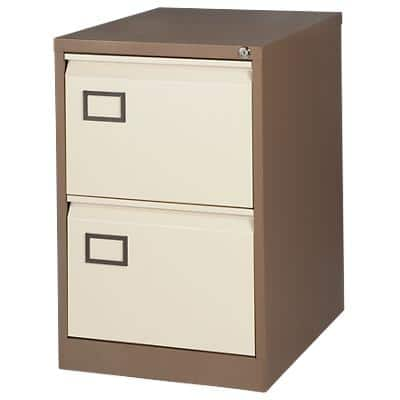 Bisley Filing Cabinet 2 Drawer Brown, Cream 470 x 622 x 711 mm