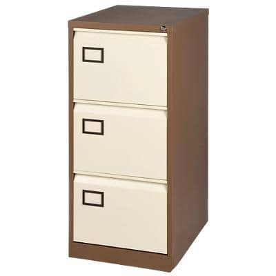 Bisley Filing Cabinet with 3 Lockable Drawers AOC3 470 x 622 x 1016mm Brown & Cream