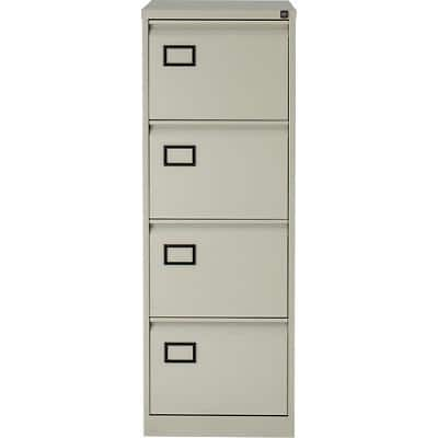 Bisley Filing Cabinet 4 Drawer Steel Lockable Grey 1312 x 470 x 622 mm