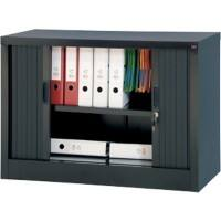 Realspace Tambour Cupboard Lockable with 1 Shelf Steel 1000 x 450 x 700mm Black