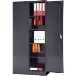 Realspace Steel 2 Door Cupboard - Black 1950 H x 950 W x 450 D mm