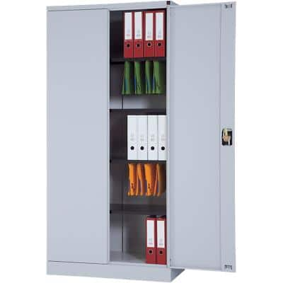 Realspace Regular Door Cupboard Lockable with 4 Shelves Steel High 920 x 420 x 1950mm Grey
