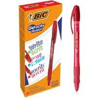 BIC Gel-ocity Illusion Gel Rollerball Pen Medium 0.7 mm Red Pack of 12