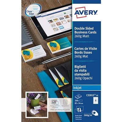 Avery Business Cards C32015-25 A4 260gsm White 25 Sheets of 8 Labels