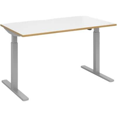 Elev8² Sit Stand Single Desk with White & Oak Edge Coloured Melamine Top and Silver Frame 2 Legs Mono 1400 x 800 x 675 - 1175 mm