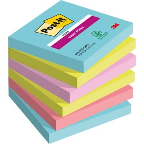 Post-it Super Sticky Notes Miami Assorted Plain 76 x 76 mm 70gsm 6 pieces of 90 sheets