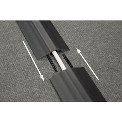 D-Line Floor Cable Cover Linkable Medium Duty Black 83 x 9000 mm