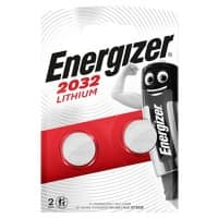 Energizer Button Cell Batteries CR2032 3V Lithium 2 Pieces