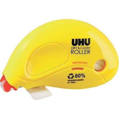 UHU Permanent Glue Roller Dry & Clean 6.5mm x 8.5m Yellow