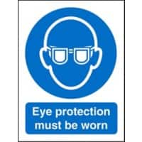 Mandatory Sign Eye Protection Must Be Worn Plastic 30 x 20 cm