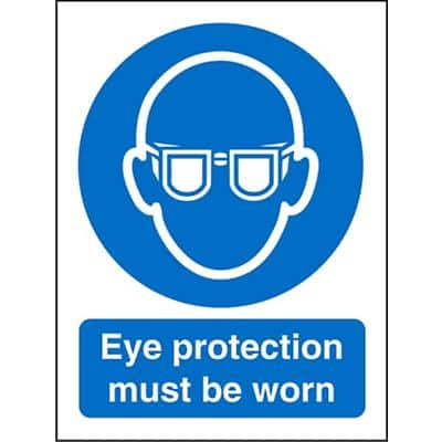 Mandatory Sign Eye Protection Must Be Worn Plastic Blue, White 30 x 20 cm