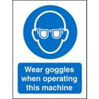 Mandatory Sign Wear Goggles with this Machine Vinyl Blue, White 20 x 15 cm