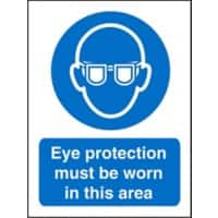 Mandatory Sign Eye Protection  in This Area Vinyl Blue, White 20 x 15 cm