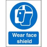 Mandatory Sign Face Shield vinyl Blue, White 20 x 15 cm