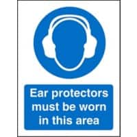 Mandatory Sign Ear Protectors in this Area Plastic 20 x 15 cm