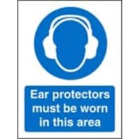 Mandatory Sign Ear Protectors in this Area Plastic Blue, White 30 x 20 cm