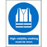 Mandatory Sign High Vis Clothing Must Be Worn Plastic 30 x 20 cm