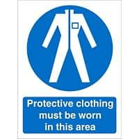 Mandatory Sign Wear Protective Clothing In This Area Plastic 30 x 20 cm
