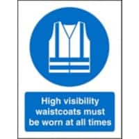 Mandatory Sign High Vis Waistcoats Worn At All Times Plastic Blue, White 30 x 20 cm