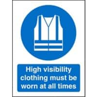 Mandatory Sign High Vis Clothing Must Be Worn Plastic 20 x 15 cm