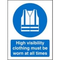 Mandatory Sign High Vis Clothing Must Be Worn Self Adhesive Plastic Blue, White 30 x 20 cm