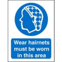 Mandatory Sign Wear Hairnets in this Area Vinyl Blue, White 20 x 15 cm