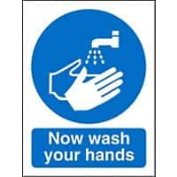 Mandatory Sign Now Wash Your Hands Vinyl Blue, White 30 x 20 cm