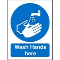 Mandatory Sign Wash Hands Here Plastic Blue, White 20 x 15 cm