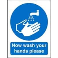 Mandatory Sign Now Wash Your Hands Self Adhesive Plastic 20 x 15 cm