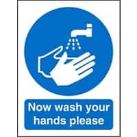 Mandatory Sign Now Wash Your Hands Self Adhesive Plastic Blue, White 30 x 20 cm