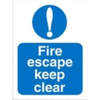 Mandatory Sign Fire Escape Keep Clear vinyl 30 x 20 cm