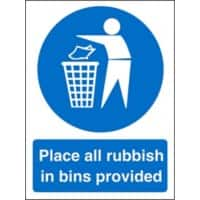 Mandatory Sign Rubbish In Bins vinyl Blue, White 30 x 20 cm
