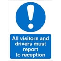 Mandatory Sign Visitors and Drivers Report to Reception Vinyl Blue, White 30 x 20 cm